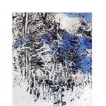 Im Wald - Baumrindendruck auf Japanpapier, coloriert A. d. R. Käferspuren - in Privatbesitz