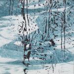 Schneegestöber - Handdruck von Baumrinde - in Privatbesitz